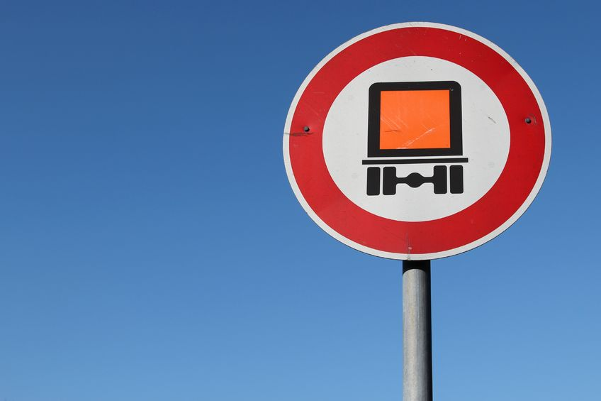 54270056 - german road sign: no motor vehicles subject to identification of dangerous goods